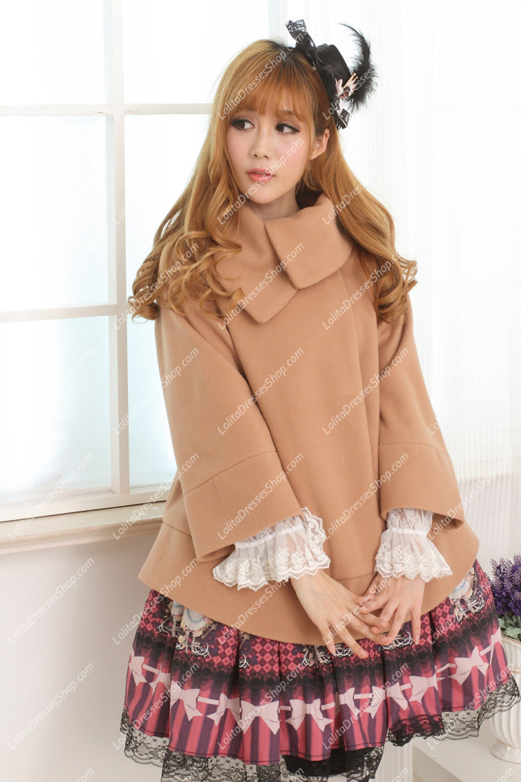 Sweet Khaki Short Wool blended Lolita Coat