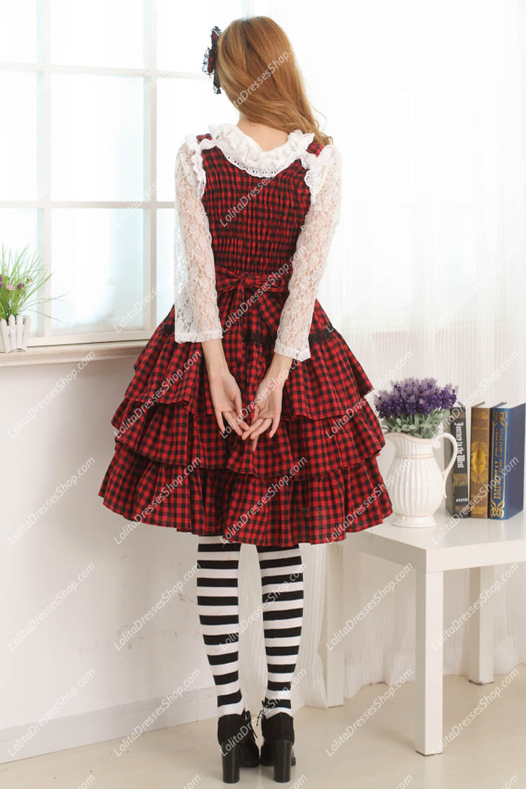 College Style Red and Black Lattice Multilayer Sweet Lolita Dress