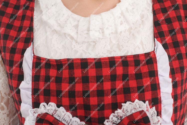 College Style Red and Black Lattice Flouncing Sweet Lolita Dress