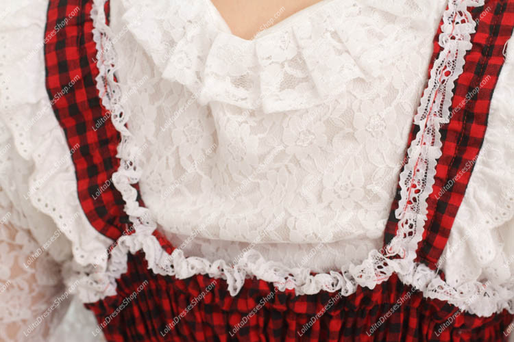 College Style Red and Black Lace Hem Sweet Lolita Dress