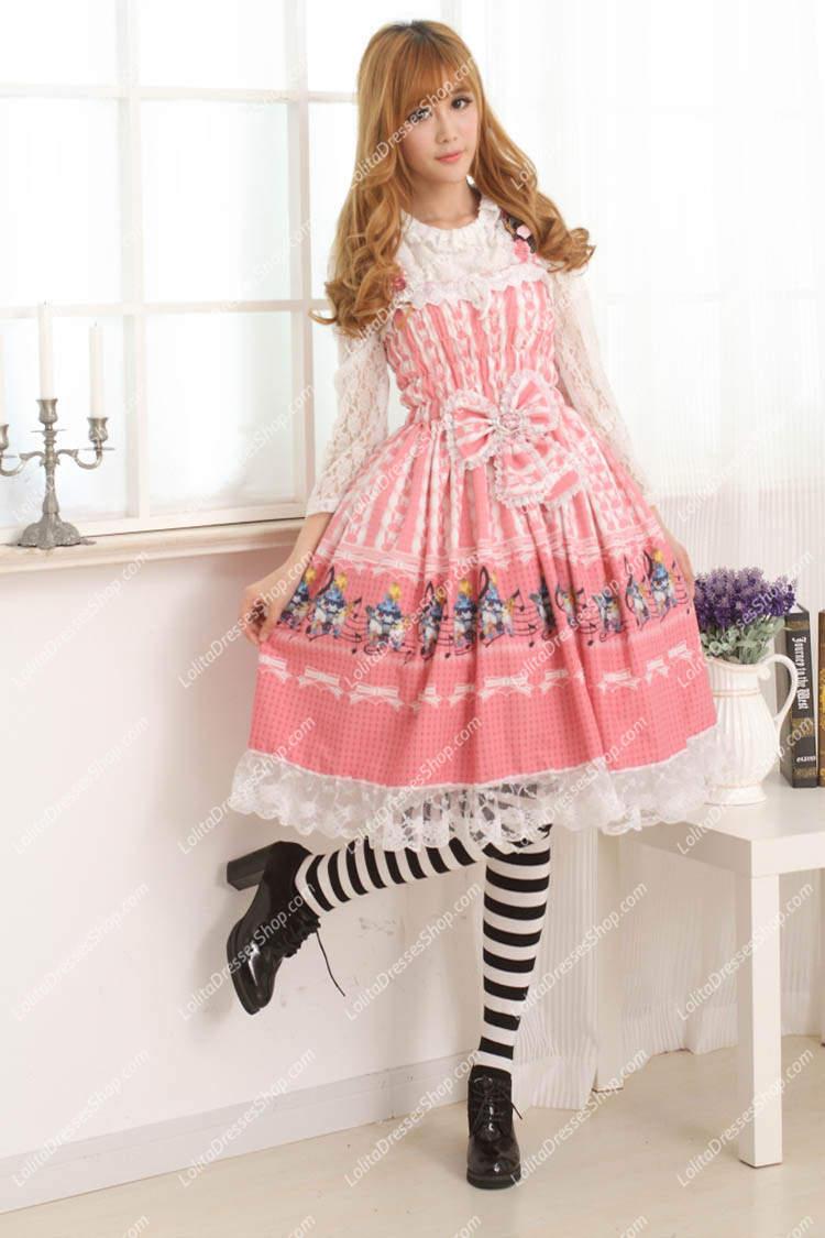 Pink Alice and Rabbit Floral Sweet Lolita Dress