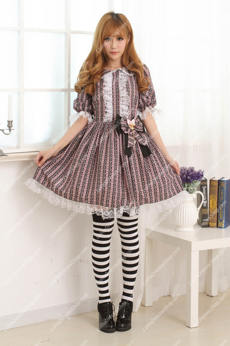 Violet Lace Trim with Big Bowknot Sweet Lolita Dress