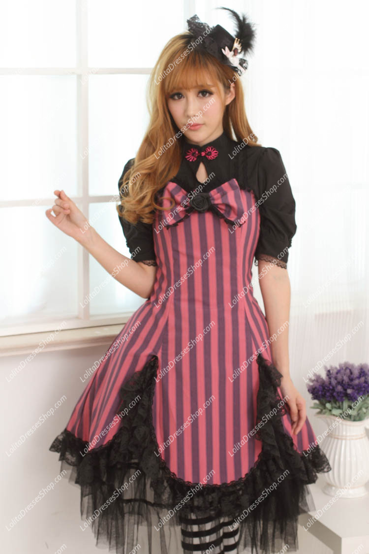 Violet Lace Hem with Big Bowknot Sweet Lolita Dress