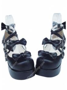 Cute PU Black High Heel Bowknots Lolita Shoes