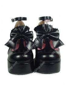 Elegant Cute PU Black High Heel Bowknot Buckle Straps Lolita Shoes