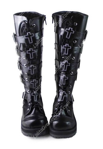 Black Belt Buckle 2 Inches Heel-height PU Gothic Lolita Boots