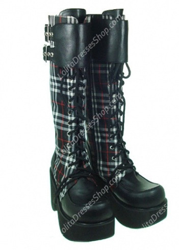 Red High Heel Lattice PU Gothic Lolita Boots