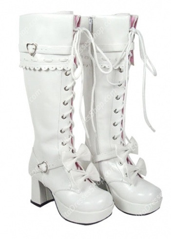 White Strappy Bowknots Heart-Shaped PU Gothic Lolita Boots