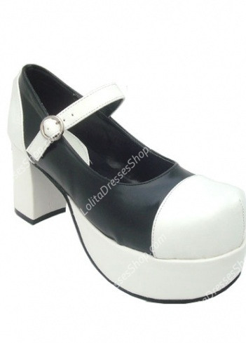 Princess Cute PU Black and White Heart Strap Lolita Shoes