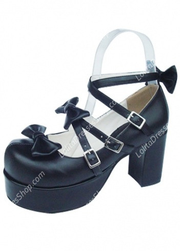 Cute PU Black High Heel Bowknots Lolita Shoes