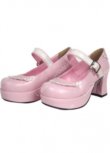 Cute Pink PU and White Lace Lolita Shoes