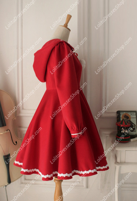 Vintage Red Cute Wool Blended Lolita Coat