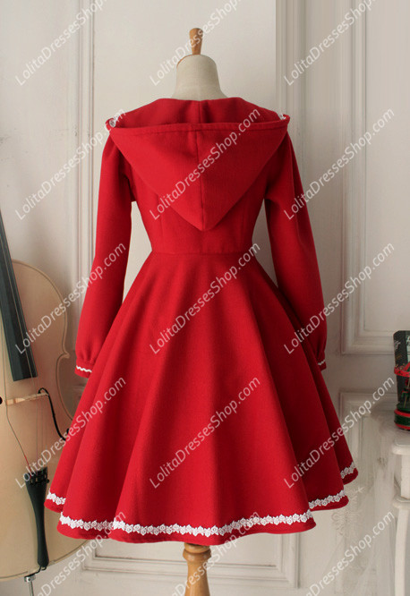 Cheap Vintage Red Cute Wool Blended Lolita Coat Sale At Lolita ...