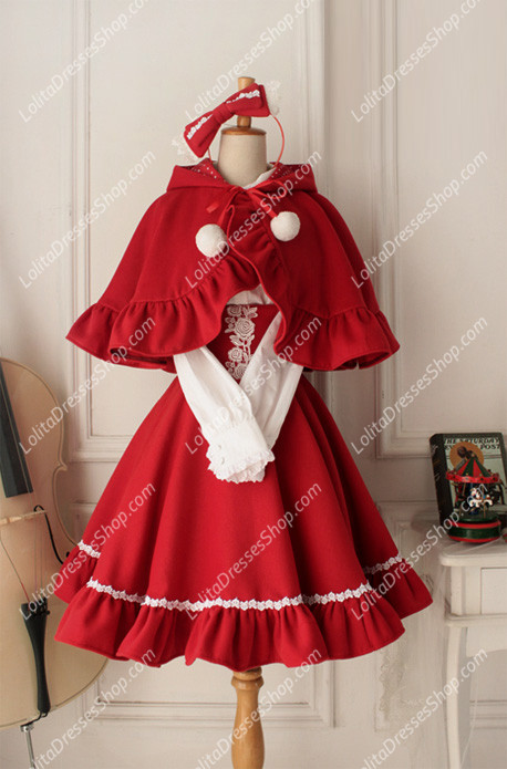 cheap cute red wool cape flouncing lolita coat sale at