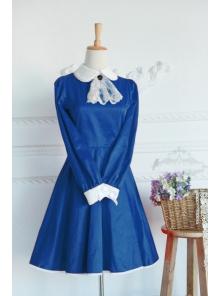 Blue Cotton Doll Collar Long Sleeves Fashion Lolita Dress