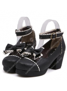 Black Bow High Heel Princess PU Sweet Lolita Shoes