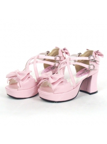 Pink Summer Street Princess PU Sweet Sandals Lolita Shoes