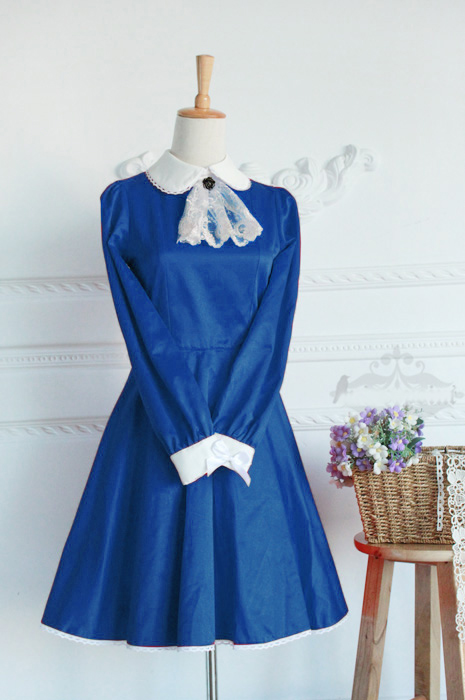 Blue Cotton Doll Collar Long Sleeves Fashion Lolita Dress