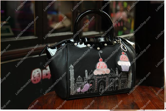 Black Smile Sweet Bow Embroidery Multifunction Lolita Bags
