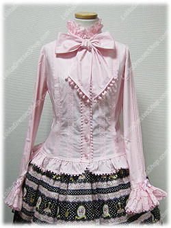 Pink Cotton Stand Collar Long Sleeve Sweet Princess Lolita Blouse