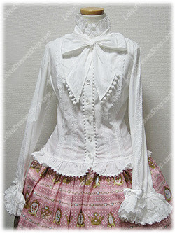 White Cotton Stand Collar Long Sleeve Sweet Princess Lolita Blouse