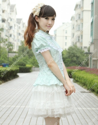 Small Fresh Green Cotton Lapel Lace Trim Lolita Blouse