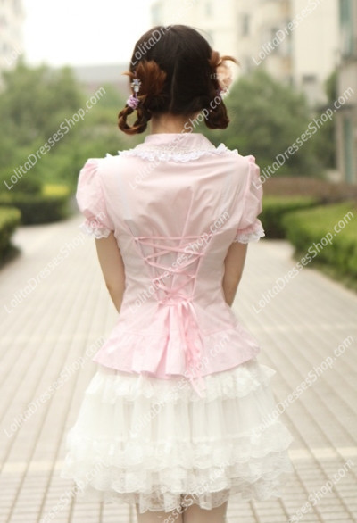 Small Fresh Pink Cotton Lapel Lace Trim Lolita Blouse