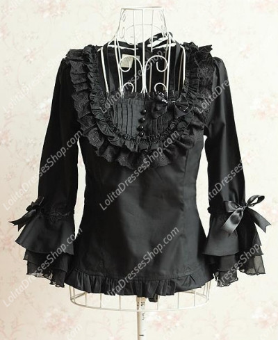 Classic Black Trumpet Sleeves Flounced Princess Quarter Sleeves Lolita Blouse