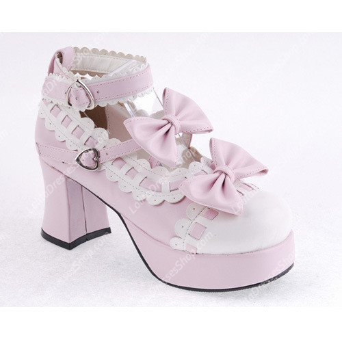 Pink with White Lace PU Sweet Lolita Shoes