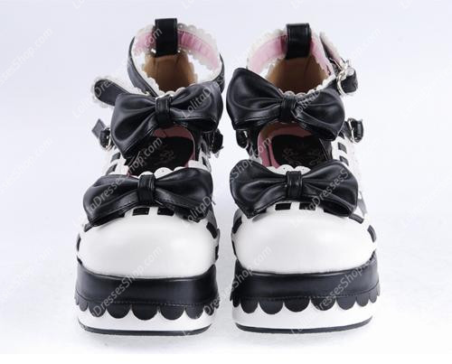 Black and White PU Sweet Lolita Shoes
