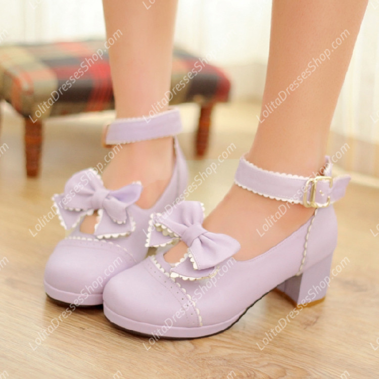 Sen Department Cute Doll Girls Thick with Round Toe PU Sweet Lolita Shoes