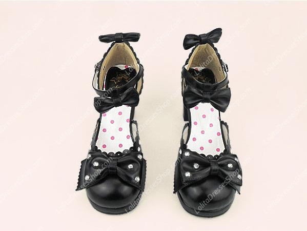 Black Sweet Princess Bowknot Rhinestone PU Lolita Shoes