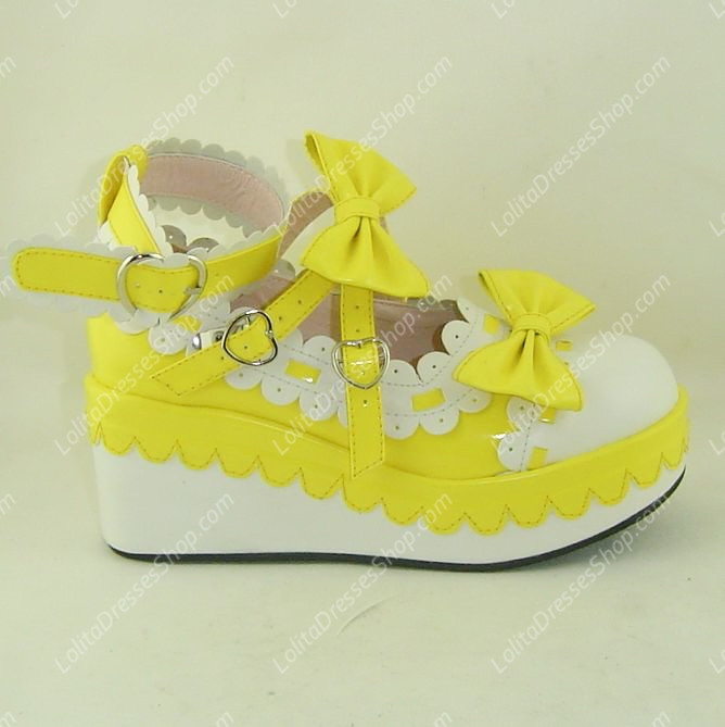 Yellow and White Cute Bowknot and Lace PU Sweet Lolita Shoes