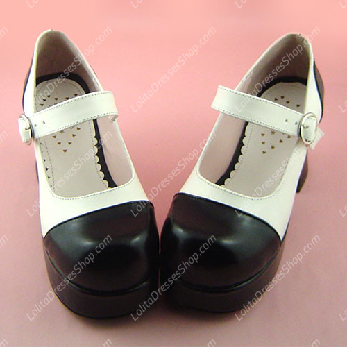 Simple Black and White High-heeled Round Toe PU Sweet Lolita Shoes
