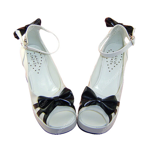 Simple White Fish Mouth Bowknot Princess PU Sweet Lolita Shoes