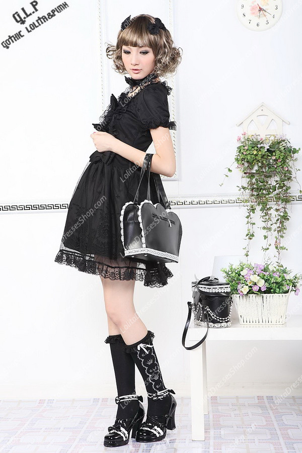 Black 65% Cotton and 35% Polyester Short Sleeves Lace Trim Punk Lolita Dress