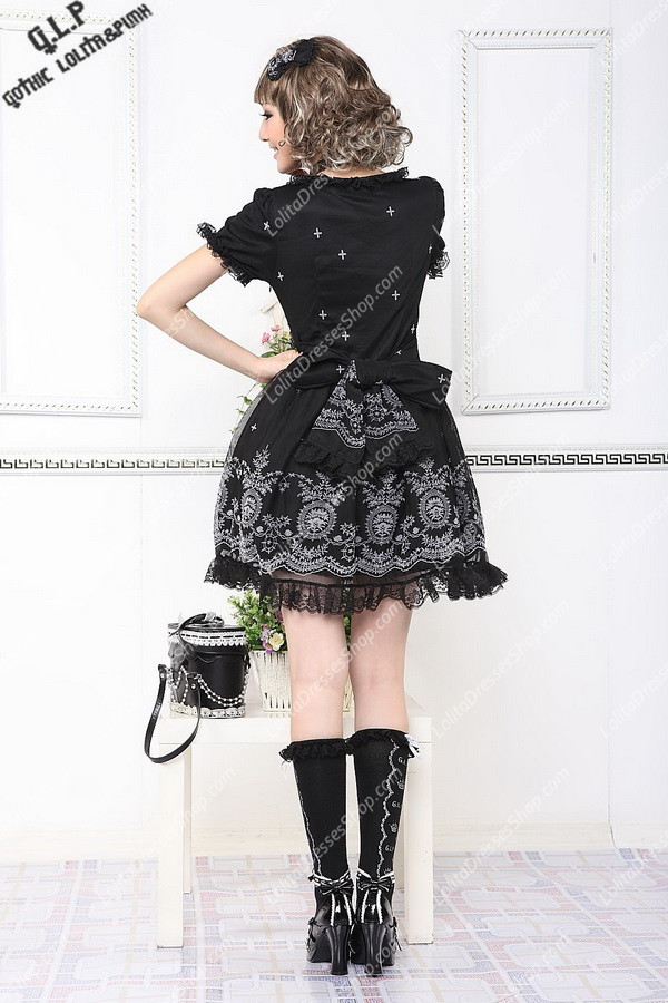 Black Cotton Round Neck Short Sleeves Unique printing Punk Lolita Dress