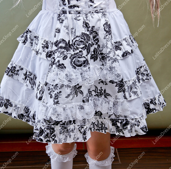 Idyllic White Short-sleeved Floral Punk Lolita Dress