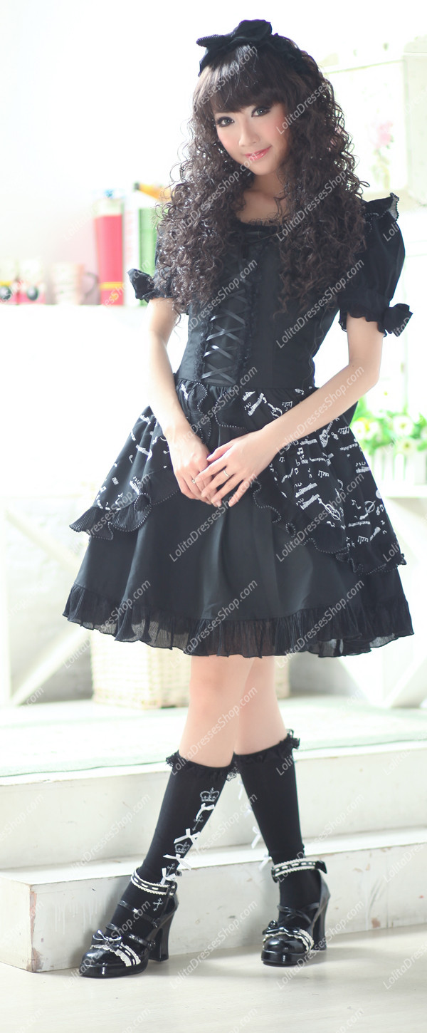 Plain Black Music Note Print Princess Punk Lolita Dress