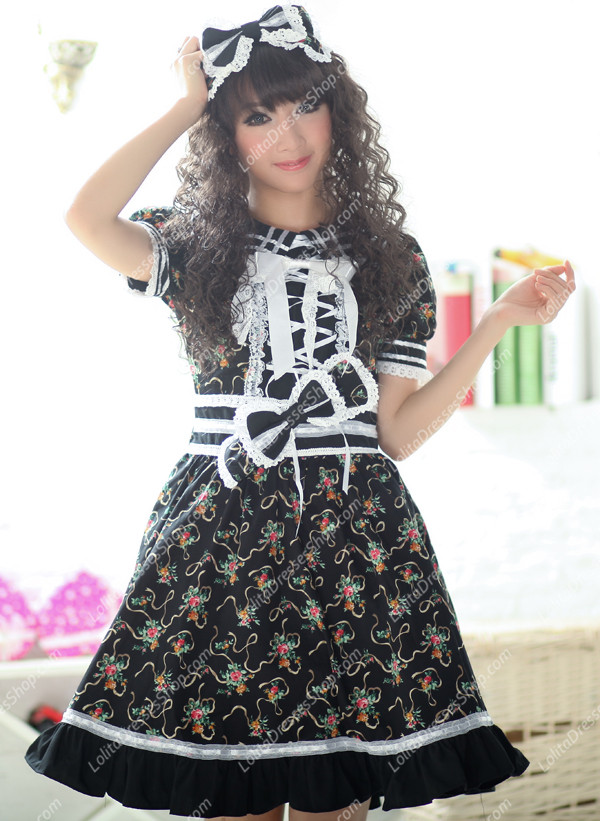 Black Garden Round Neck Short Sleeves Floral Flouncing Punk Lolita Dress