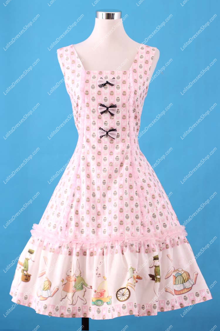 Sweet pink Square Neck Ruffles Bow Lolita Dress