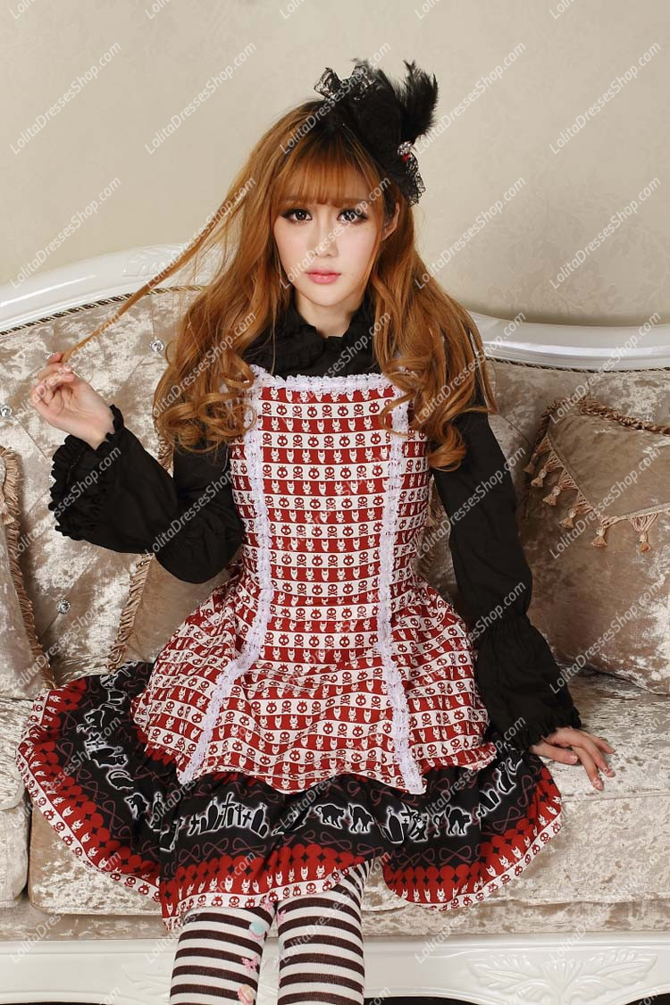 Sweet Red Square Neck Ruffles Bow Lace Print Lolita Dress