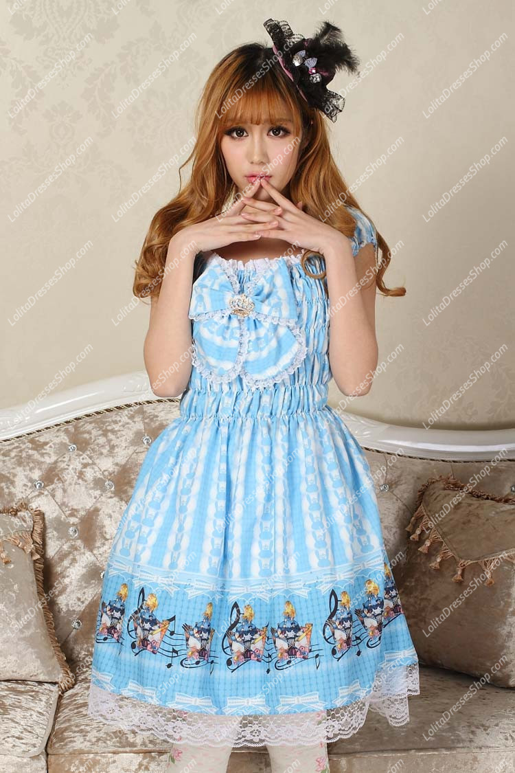 Sweet Blue Square Neck Ruffles Bow Lace Print Lolita Dress