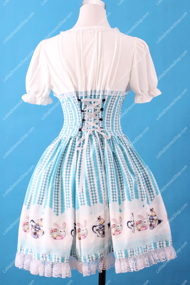 Sweet Blue Square Neck Ruffles Bow Lace Short Sleeve Lolita Dress