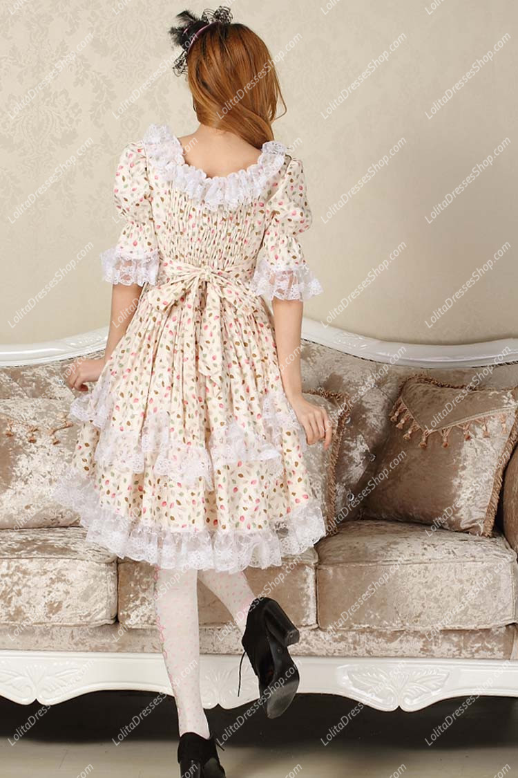 Sweet BeigeSquare Neck Ruffles Bow Lace Short Sleeve Lolita Dress