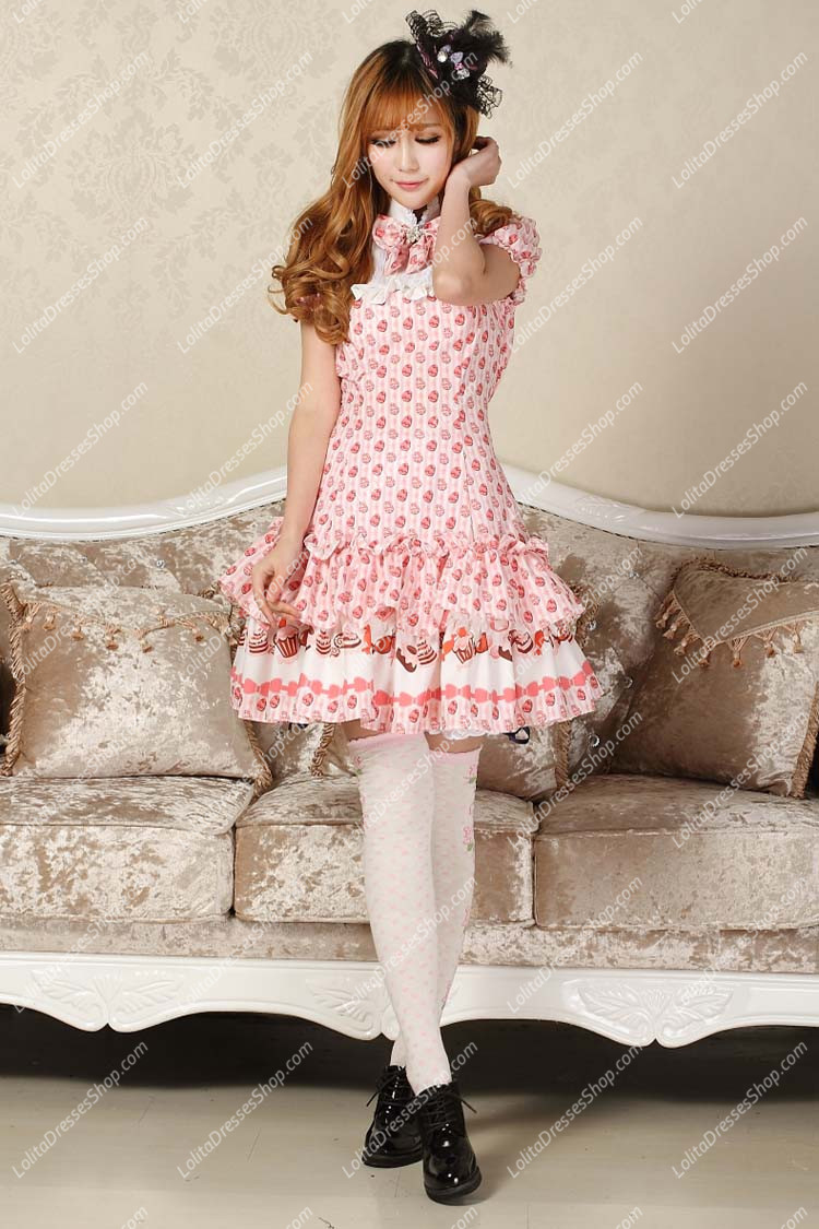 Sweet Pink stand Collar Ruffles Bow Lace Short Sleeve Lolita Dress