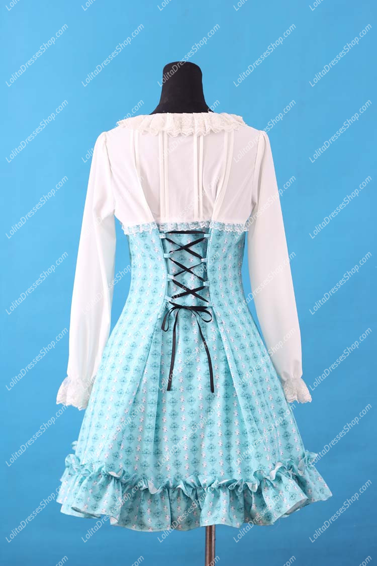 Sweet Blue Round Neck Ruffles Bow Lace Long Sleeve Lolita Dress