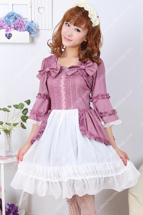 Elegant Princess Violet White Splicing Long Sleeves Sweet Lolita Dress