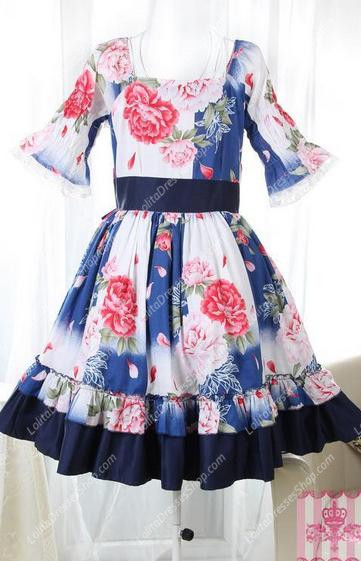 Bohemian Summer Square Neck Short Sleeves Flouncing Sweet Lolita Dress