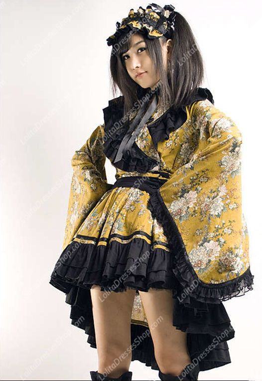 Cute Yellow and Black Printing Fold Kimono